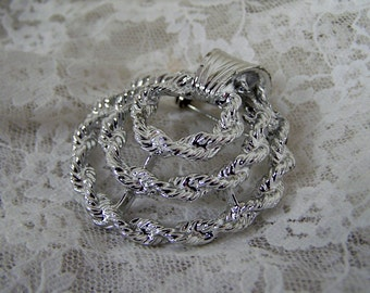 Vintage Silver Swirl Brooch Pin Signed GERRY'S Large Estate Bridal Broach, Retro Jewelry, Under 10 Dollars