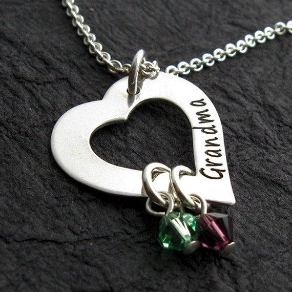 Personalized heart mother necklace w/2 birthstone crystals - Engraved - Personalized Necklace - Grandmother Necklace