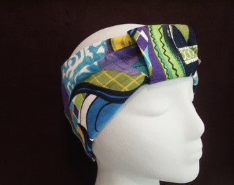 TUSCANY Turban Headband / Hair Bands / Wide Head Wrap / Turband Boho Hair Covering Wrap / Jersey Stretch Ruched with Fabric Wrap
