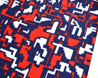 Vintage Fabric - Geometric Techno Print in Red White and Blue - 60 x 36