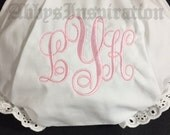 Monogrammed Diaper Covers Bloomers Size 0-6-12-18-24-2T-3T-4T White Diaper Cover Personalized
