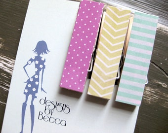Bold Geometric Patterned Chunky Clothespin Magnets  - Set of 3