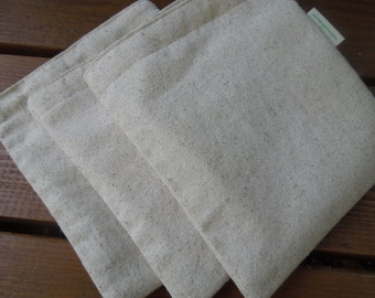 Three reusable sandwich bags  - Plain and simple on natural unbleached cotton