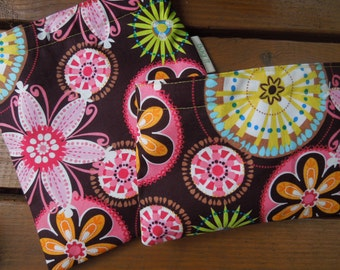 Reusable sandwich and/or snack bag - Carnival bloom and several options for a marching snack bag