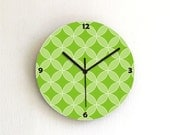 Green circle of life geometric retro kitchen bedroom living room unique modern decorative patterned graphic design wall clock