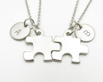 Puzzle Piece Necklaces, His and Hers Couple Necklaces, Initial Necklace, Best Friend Necklace, Personalized Stamped Monogram Initials Y151