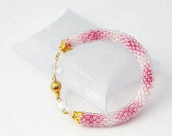 Lucky in Love Beaded Bracelet With Crystals