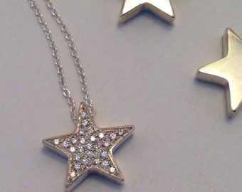 Solid Sterling Silver Pave Star Necklace Cubic Zirconia Handmade Bling