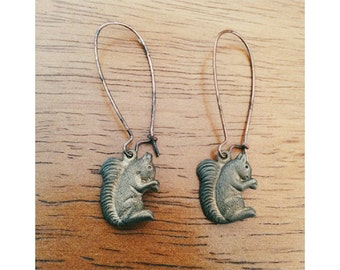 Antiqued Squirrel Earrings- Vintage Squirrel Earrings