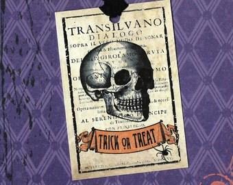 Halloween Tags, Trick or Treat, Eerie Tags, Skull