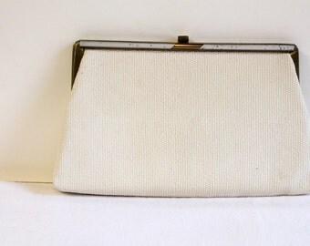 Vintage 1960s white Harry Levine Clutch purse with blue coin purse - HL bag