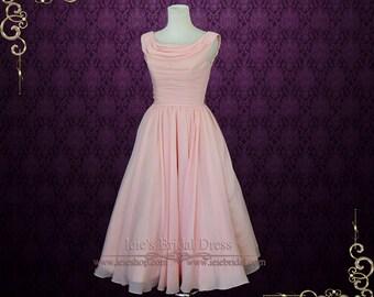 SALE - 40% OFF Peach Pink Retro Vintage Style Tea Length Prom Dress Formal Dress | Size 6