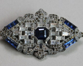 Large Edwardian Sapphire Paste Brooch / Sash Pin