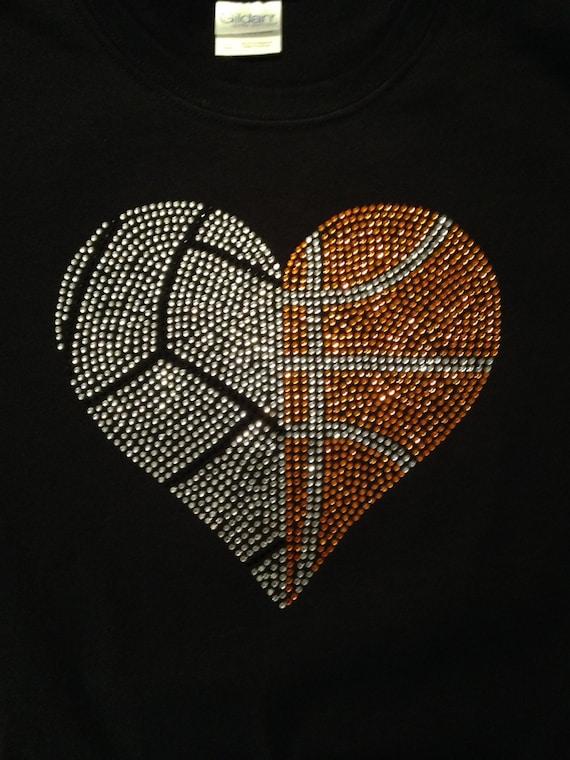 volleyball and basketball rhinestone heart women u0026 39 s shirt