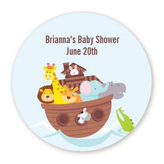 noah s ark personalized round baby shower sticker labels