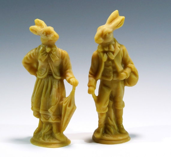 Beeswax Rabbits Cast Using Antique Chocolate Molds