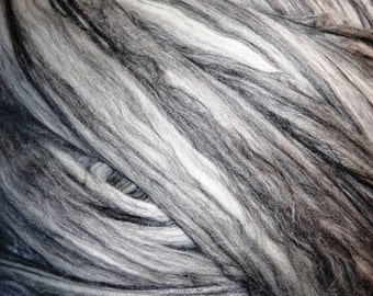 Roving Merino Wool Black Tencel Roving - Fiber for Spinning and Felting - Salt & Pepper II - 8oz - Black and White Roving