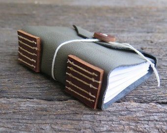 A7 Green and Tan Leather Journal