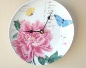Pink Peony Wall Clock / Butterfly Wall Clock / Kitchen Clock / Unique Wall Clock / Unique Wall Decor / Floral Wall Clock 1612