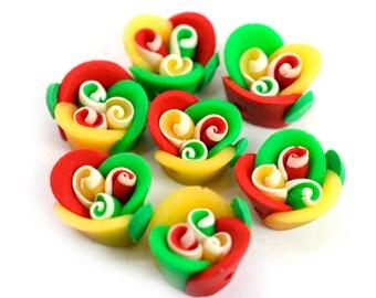 Flower Beads, 15pcs, 13x9mm, Rasta Colors, Red Yellow Green, Rasta Beads, B17