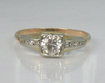Antique Old European Cut Diamond Engagement Ring - Two Tone