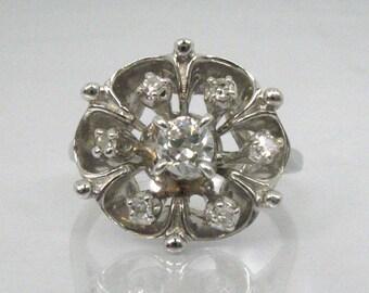Vintage Diamond Cocktail Ring - Engagement Ring - 0.26 Carats - 14K White Gold