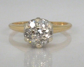 Antique Diamond Engagement Ring - Dome Top - 0.30 Carats - Single Cut and Old Mine Cut Diamonds