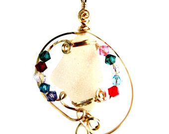 Sea glass pendant with Swarovski crystals multi color, very colorful