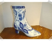 Blue/White Ceramic Boot Vase/Vintage*