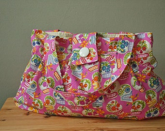 Purse or Project Bag with Sugar Skull Fabric