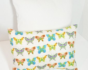 "Butterfly pillow cover set, tan stripe pillow cover, bright color, 12x16"", 16 inches"