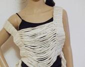 Crochet Chain Crop top, cropped halter top, tank top, music festival, chain vest, clubwear, hippie festival top