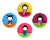 """Geisha Girl Button, Kimono Girl Pinback Button, Small Badge, Japanese Girl, Kawaii Button, 1.25"""" Button"""