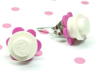 Crazy Daisy Stud Earrings made from LEGO® Pieces - White and Dark Pink