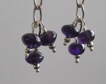 30% off - Rich, Dark Amethyst Dangle Earrings