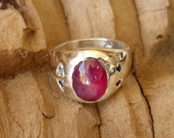 Birth Stones added with Red Star Sapphire Center Stone Sterling Silver RF629