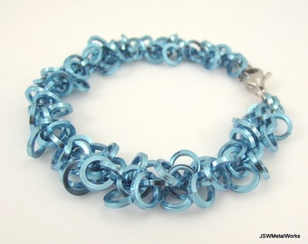 Light Blue Shaggy Loops Chainmaille Bracelet, Aluminum Bracelet, Chainmail Bracelet