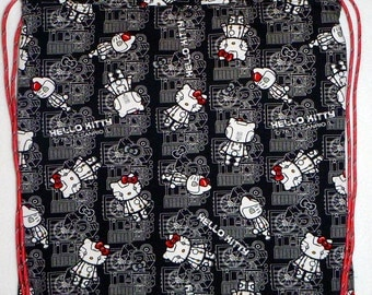 Robot Kitty Backpack/tote cotton/linen - I have one only
