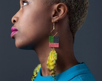 Grid Weaved Earrings with Feather Accent