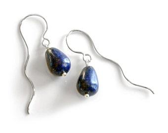 Unique blue Lapis Lazuli drop earrings with one of a kind wavy long sterling silver ear hooks , funky large lapis lazuli rain drop earrings