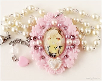 Chobits Chii Anime Necklace, Domed Glass Pendant, Beaded Pearl Chain, Pastel Pink - Sweet Lolita, Gyaru, Fairy Kei