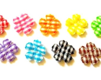 100 pcs - Small Gingham Flowers Padded Appliques -   Mix color - size 14 mm