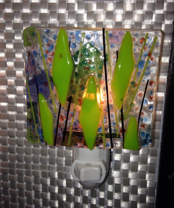 Contemporary Home Decor Lime Green Fused Glass Night By