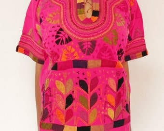 Mexican Pink Top Blouse Colorful sewn and Embroidered Handmade Special Collection Medium / Large