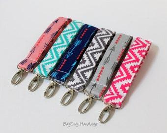 Key Chain / Key Fob - Swivel Clasp Key Wristlet -  Arrows / Aztec - Choose Your Fabric - Sale