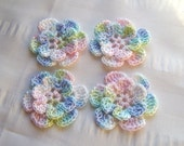 Crochet motif set of 4 flowers 1.5 inch welcome baby