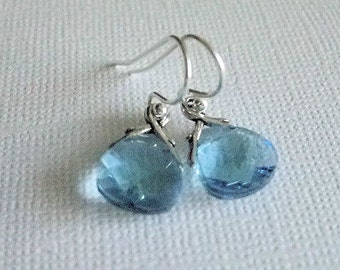Crystal Earrings Aquamarine, Sterling Silver Ear Wires, March Birthday, Everyday
