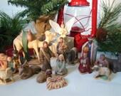 Hand Painted Ceramic Nativity Set - 17 Piece