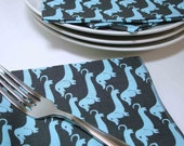 12 inch Everyday Dinner Napkins Dachshunds in Blue on Gray - set of 4