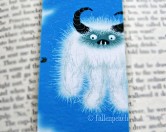 Yeti Illustration Laminated Bookmark - Abominable Snowman Meets a Bee